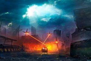 apocalyptic, Futuristic, Lasers, Road, Car