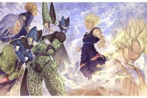 anime, Dragon Ball, Son Goku, Son Gohan, Vegeta, Trunks (character), Piccolo, Cell (character), Dragon Ball Z