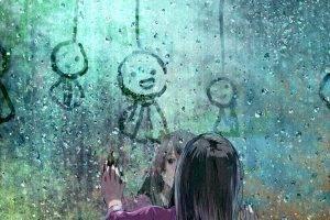 anime Girls, Original Characters, Rain, Black Hair, Window