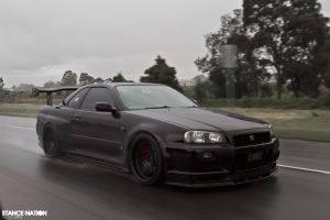 car, Japanese Cars, Nissan, Nissan GT R, Nissan GTR R34, Nissan Skyline GT R R34, JDM, Road, Rain