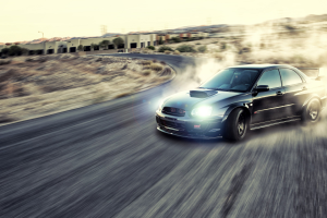 Subaru Impreza WRX STi, Vehicle, Car, Drifting, Motion Blur, JDM, Road