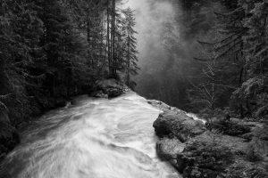 nature, Landscape, Waterfall, Forest, Mist, Morning, Sunlight, Monochrome