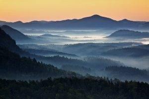nature, Landscape, Mist, Mountain, Forest, Sunrise, Blue, Czech Republic