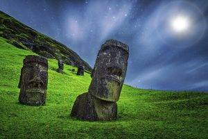 enigma, Nature, Landscape, Moai, Sculpture, Starry Night, Grass, Moonlight, Easter Island, Rapa Nui, Chile, Statue, Stone, Long Exposure
