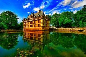 architecture, Castle, Water, Clouds, Lake, Reflection, Nature, Trees, Leaves, Walls, House