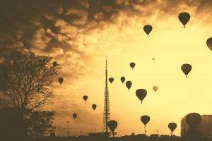 hot Air Balloons, Clouds, Nature, City, Trees, Silhouette, Contrast, Industrial, Cityscape, Sky, Sepia