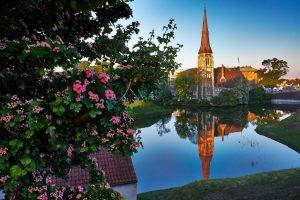 architecture, House, Nature, Trees, Branch, Copenhagen, Denmark, Church, Tower, Water, Reflection, Flowers, Leaves, Clear Sky