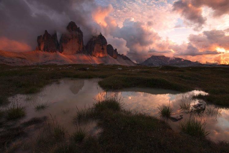 nature, Landscape, Mountains, Sunset, Clouds, Sunlight, Pond, Grass, Sky, Italy HD Wallpaper Desktop Background