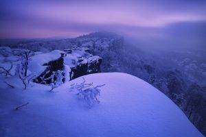 landscape, Nature, Photography, Mist, Winter, Snow, Sunrise, Trees, Village, Cliff, Czech Republic