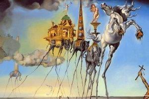 Salvador Dalí, Painting, Fantasy Art, Skull, War, Clocks, Time, Classic Art