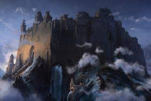 fantasy Art, Artwork, Clouds, Mountain, Forts, Castle
