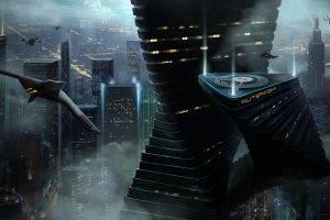 fantasy Art, Digital Art, Drawing, Cityscape, Airplane, Skyscraper, Building, Lights, Futuristic