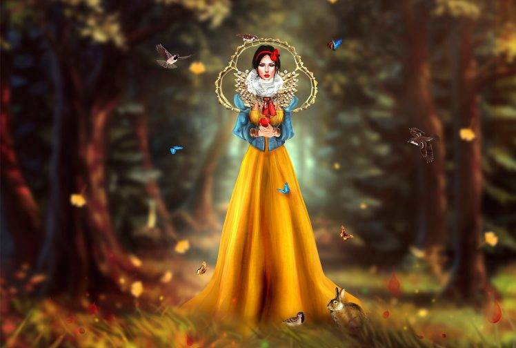 fantasy Art, Artwork, Snow White, Birds HD Wallpaper Desktop Background