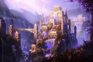 Shangri La, Fantasy Art, Castle, City, Mountain, Artwork, Waterfall