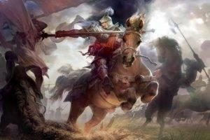 knight, Spear, Fantasy Art