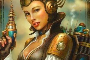 digital Art, Fantasy Art, Women, Face, Futuristic, Helmet, Gun, Looking At Viewer, Smoke, Open Mouth, Gloves, Antenna, Technology, Artwork, Steampunk