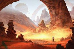 artwork, Fantasy Art, Digital Art, Desert, Planet