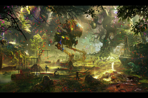 artwork, Fantasy Art, Playground, Jungles, Robot