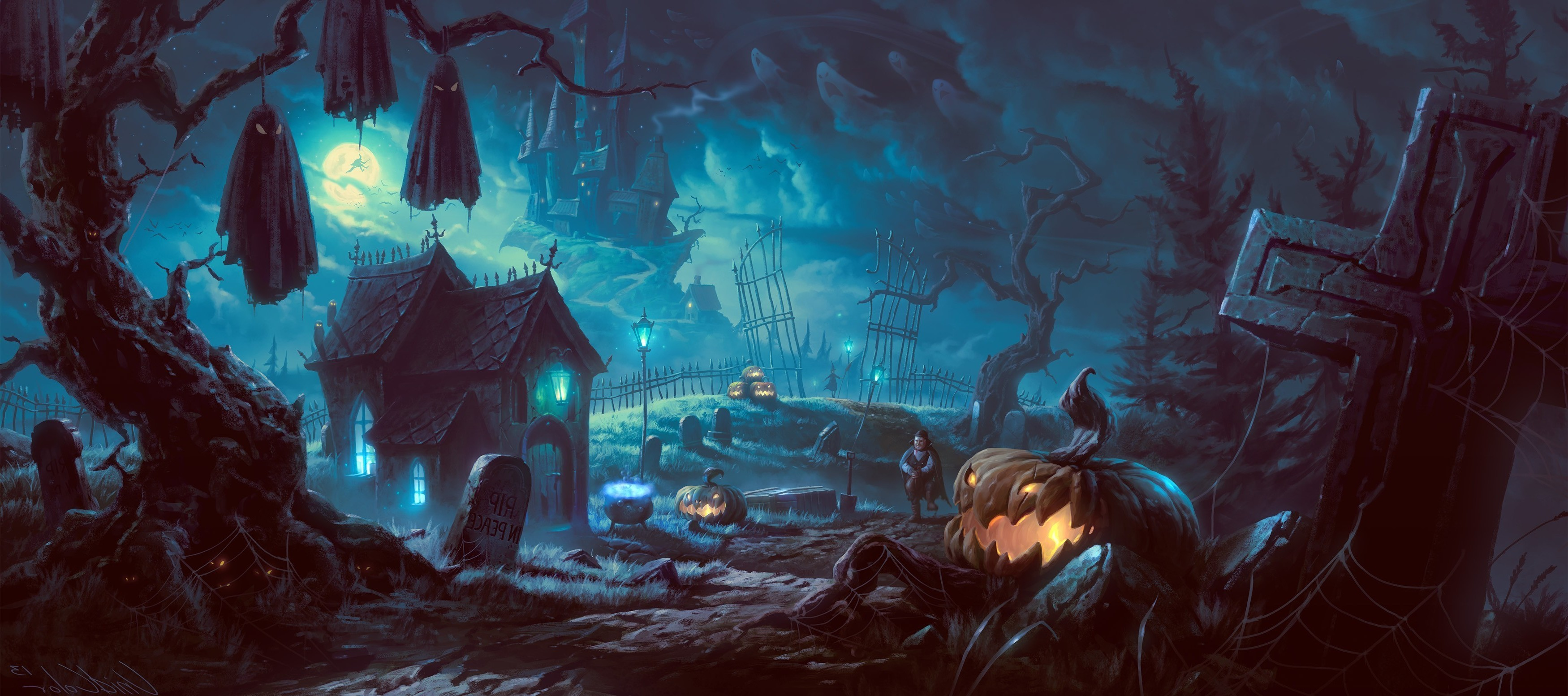 artwork fantasy art halloween pumpkin forest wallpapers hd desktop and mobile backgrounds