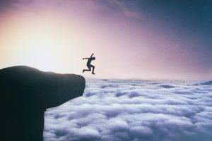 clouds, Jumping, Stars, Cliff, Sky, Heights, Lights, Fantasy Art