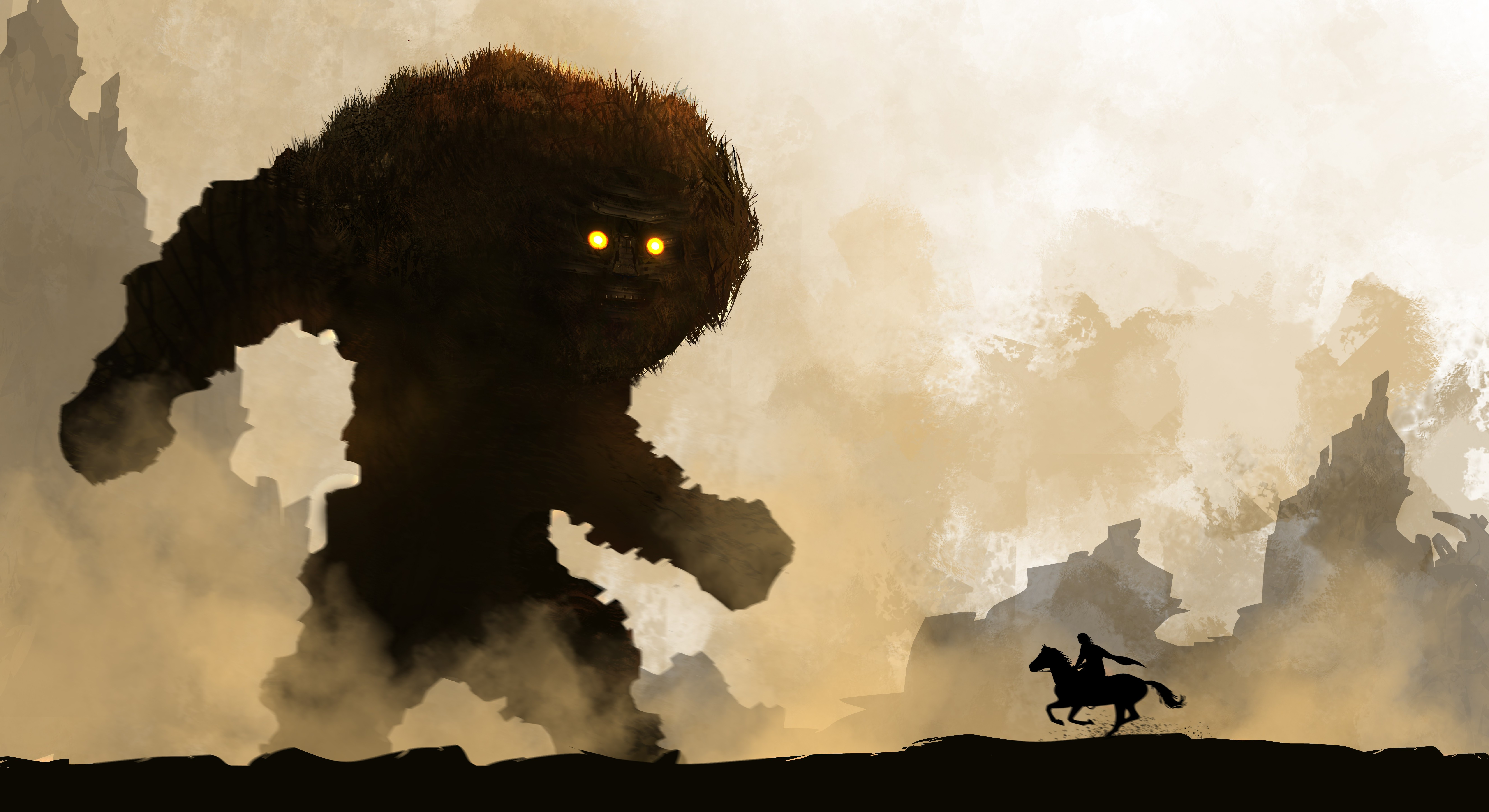 Fantasy art creature horse warrior shadow of the - Shadow of the colossus iphone wallpaper ...