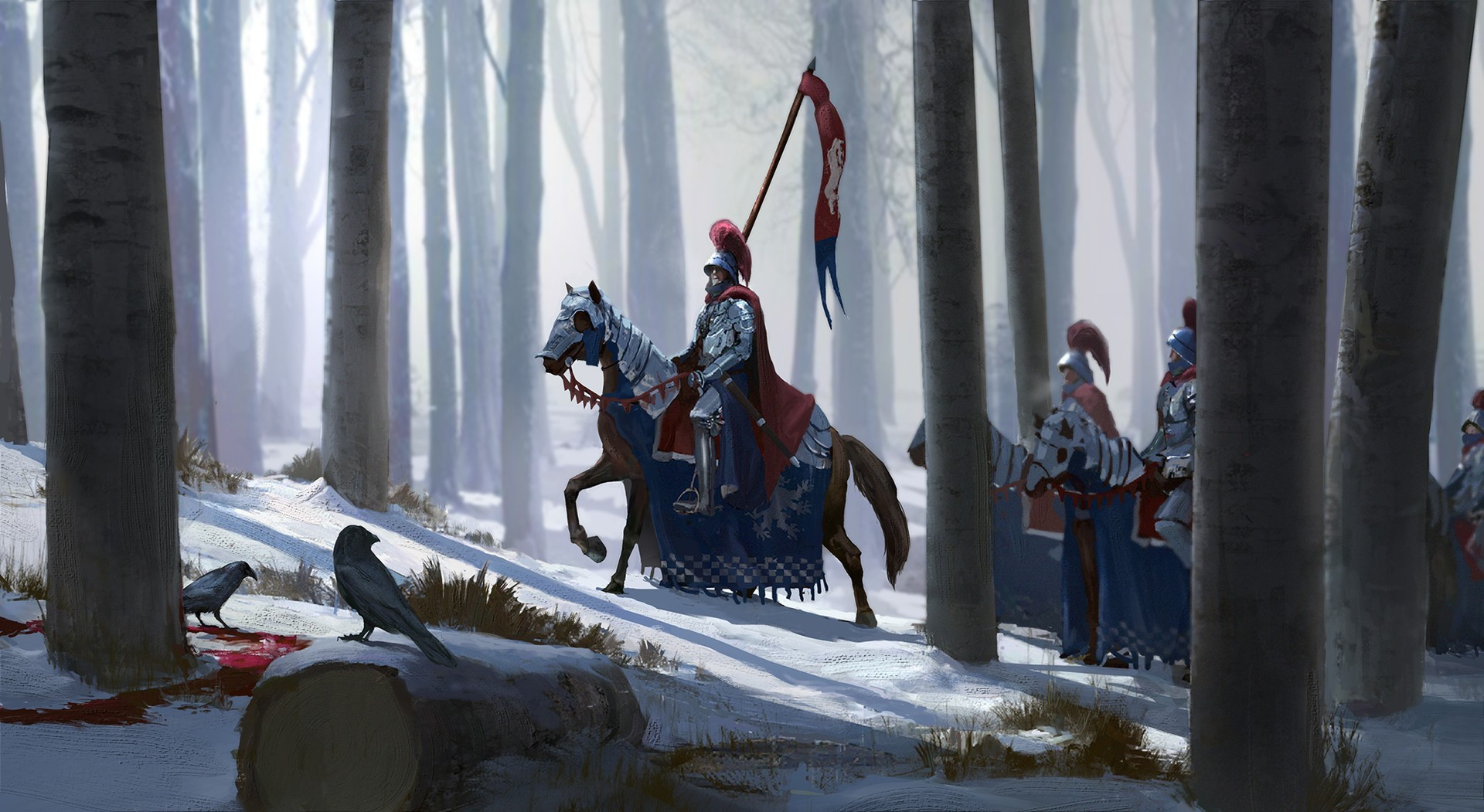 Artwork Fantasy Art Knight Knights Horse Snow Trees Forest Crow Wallpapers Hd Desktop And Mobile Backgrounds