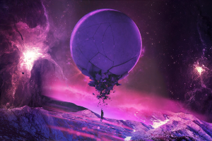 purple, Pink, Universe, Stars, Planet, Fantasy Art, Space