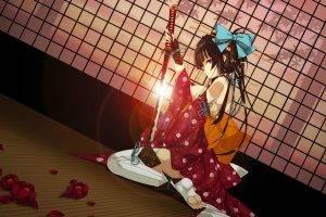 original Characters, Anime, Anime Girls, Katana, Sword, Kimono