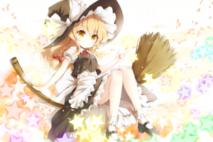 blonde, Long Hair, Witch, Anime, Anime Girls, Broom, Dress, Yellow Eyes, Touhou, Kirisame Marisa, Ribbon