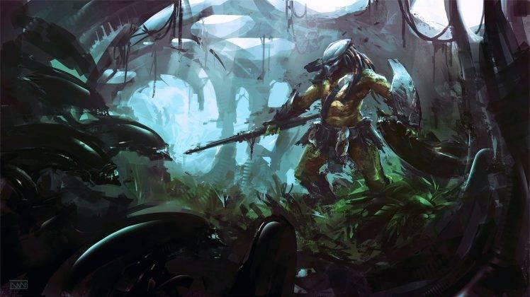 aliens, Xenomorph, Predator (movie), Fantasy Art, Artwork, Concept Art HD Wallpaper Desktop Background