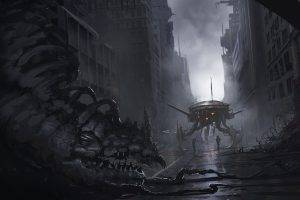 artwork, Fantasy Art, Concept Art, Robot, Creature, City, Destruction, Death, Soldier