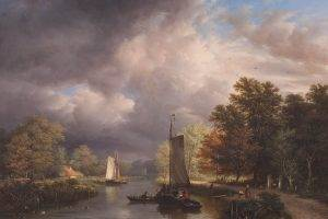 painting, River, Classic Art, Boat, Clouds, Trees