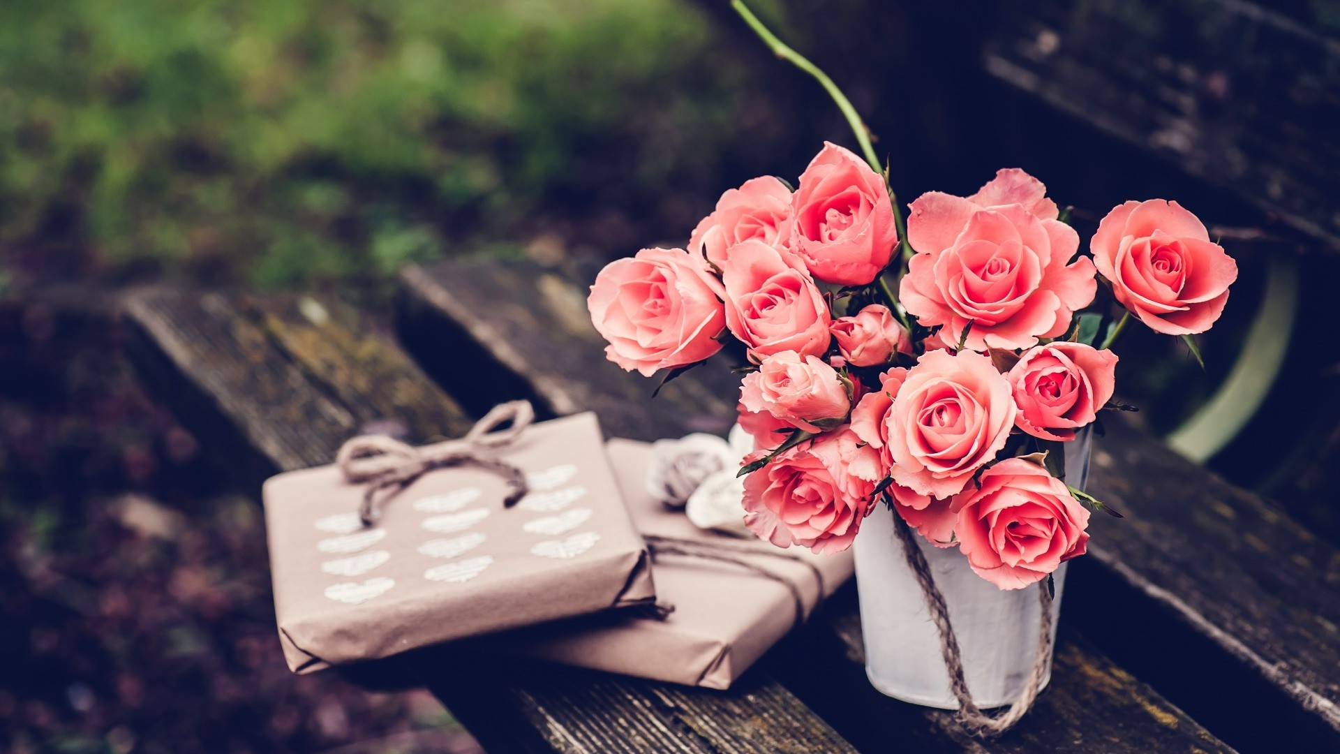 presents bench rose flowers bouquets wallpapers hd