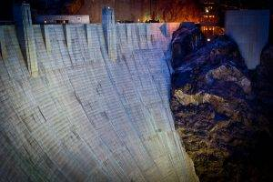 nature, Architecture, Rock, Dam, Concrete, Hoover Dam, Nevada, Arizona, USA, Night, Lights, Building