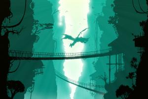 digital Art, Dragon, Nature, Birds, Bridge, Trees