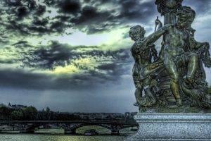HDR, Statue, River, Bridge