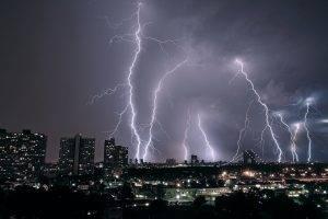 lightning, Storm, City, Nature