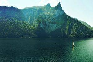 nature, Water, Mountain, Trees, Boat, Sky, Summer, Lake