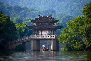 China, Bridge, River, Canoes
