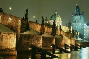 city, Cityscape, Architecture, Prague, Czech Republic, Bridge, River, Old Building, Cathedral, Tower, History, Building, Capital, Night, Lights, Long Exposure, Street Light, Church, Lamps, Sculpture, Statue, Arch