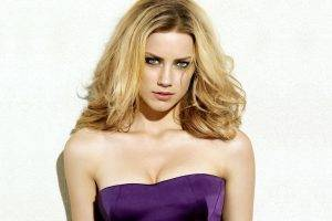 Amber Heard, Blonde, Face, Dress, Purple, Cleavage, Closeup, White Background, Eyes