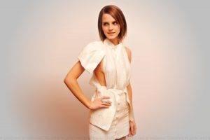 Emma Watson, Women, Short Hair, Brunette, White Background, Actress