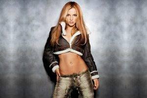 Britney Spears, Blonde, Hazel Eyes, Jacket, Belly, Pants, Simple Background