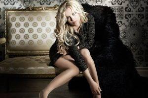 Britney Spears, Blonde, Hazel Eyes, Sitting, Couch, Legs, Sweater, Heels
