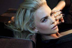 jewelry, Women, Green Eyes, Blonde, Face, Black Clothing, Painted Nails, Charlize Theron