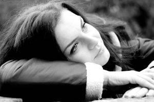 monochrome, Women, Lying Down, Jacket, Brunette, Closeup, Face