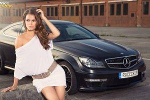 car, Women, Mercedes Benz, Coupe, Brunette, Brown Eyes, Women With Cars