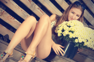 brunette, Legs, Flowers, Sitting, Sandels, Women
