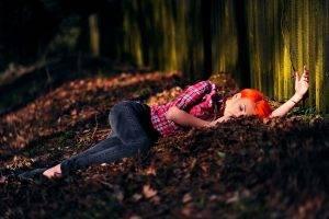 redhead, Women, Orange Hair, Plaid, Lying Down, Depth Of Field, Women Outdoors, Closed Eyes, Aleksandra Zenibyfajnie Wydrych