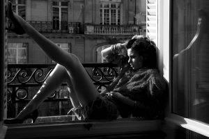 legs, Women, Model, Brunette, Long Hair, High Heels, Stiletto, Jean Shorts, Torn Jeans, Open Mouth, Hands In Hair, Sitting, Window, Old Building, Monochrome